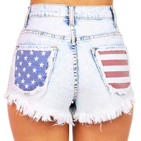 Allegiance High Waist Shorts - Denim Shorts at Pinkice.com