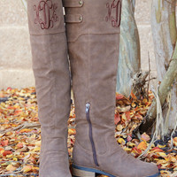 Monogrammed Cognac Knee High Boot | Footwear | Marley Lilly