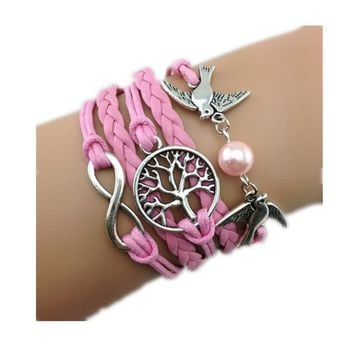 Healthtop Handmade Infinity Love Birds Wish Tree Pink Leather Rope Wrap Bracelets Fashion Wristwear