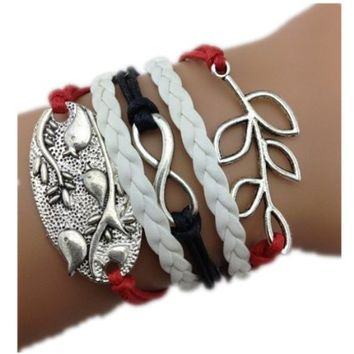Healthtop Handmade Olive Branch Infinity Love Birds Silver White Red Black Leather Rope Wrap Bracelets