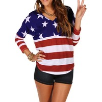 Red/White/Blue American Flag Top