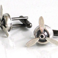 Steampunk Airplane PROPELLER Cuff Links by GlazedBlackCherry