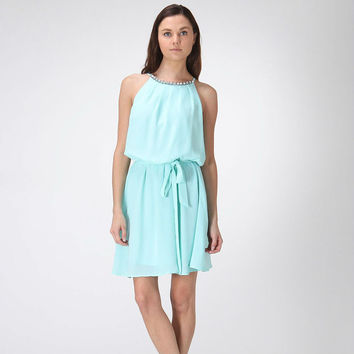 Mint Dress with Rhinestone Detailed Neckline