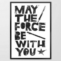 Star Wars May the Force be with You Linoleum by typogy on Etsy