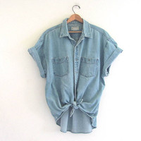 vintage denim jean shirt. button down shirt. light wash jean shirt. XL