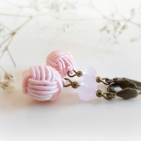 Pink Cherry blossom Romantic pom pom crochet silk by GBILOBA
