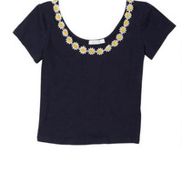 Daisy-Trim Short-Sleeve Top -