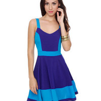 Cute Color Block Dress - Blue Dress - &amp;#36;40.00