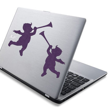 Angel Cupid Laptop Decal - Angels Wall Decor -  Trumpet Sticker - Love Home Decor - Romantic Wall Art - Angel Computer Decal Sticker