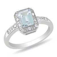 Emerald-Cut Aquamarine, and Diamond Accent Ring in Sterling Silver - View All Rings - Zales