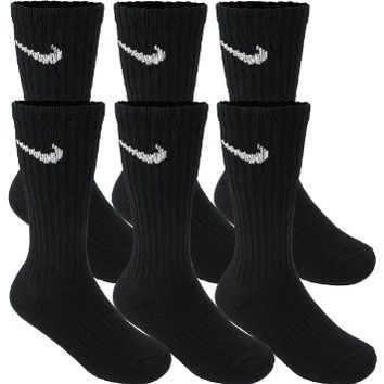 Nike Boyx27s Performance Cotton Crew Socks 6 Pair -Made in USA