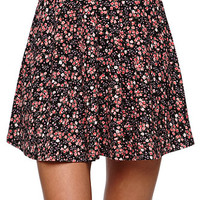LA Hearts Floral Skater Skirt - Womens Skirt - Black