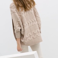 CABLE KNIT WRAPAROUND CARDIGAN