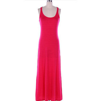 In Style Tank Racerback Fuischia Maxi Dress