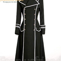 Elegant Gothic Military Double Breasted Long Coat