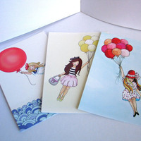 Kids wall art 4x6 postcards Set of 3 Balloon by wonderlaneart