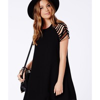 Missguided - Berangaria Black Caged Sleeves Swing Dress
