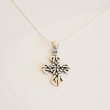sterling silver celtic cross necklace   celtic cross necklace .  925 celtic knot necklace   925 silver cross necklace   celtic cross pendant