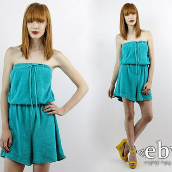 Vintage 80s Teal Terrycloth Romper 1X 2X 80s Romper Terry Romper Teal Romper High Waisted Shorts Swimsuit Coverup Plus Size Romper