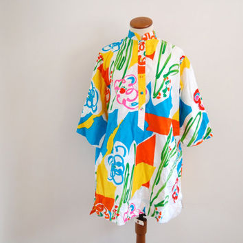 Catherine Ogust mini tent dress - 70s vintage bright abstract print caftan tunic - mandarin collar - one size