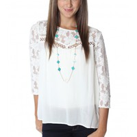 Quarter Sleeve Lace Top