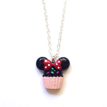 Handmade Minnie Mouse Cupcake Necklace with Light Pink Base and Red Bow and Silver Chain
