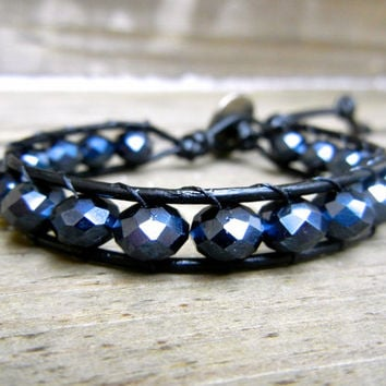 Beaded Leather Single Wrap Stackable Bracelet with Black Charcoal Glass Beads on Genuine Black Leather READY TO SHIP