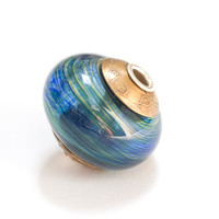 Hollow Lampwork Glass Bead Sterling Silver Core by susansheehan