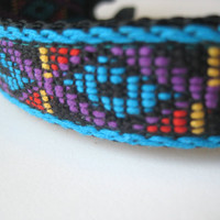 "Turquoise Tribal Dog Collar. 3/4"" wide, available in S, M"
