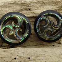 Real gauge,Natural ebony wood with abalone shell ,hand made,tribal ,6mm,8mm,9mm,10mm,11mm,13mm,14mm,18mm,19mm,20mm,22mm,organic