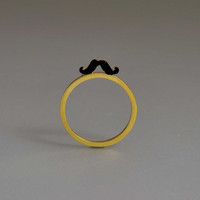 Tiny Black Mustache Ring Yellow Gold Stacking Design Funny Cool Sterling Gift Whimsical Idea Her Minimal Modern Round Band Fluffy Mustache