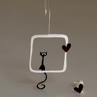 Love Dreams Cat Mismatched Earrings Dangle and Post Sterling Silver Black Deep Red Enamel Animal Lovers Gift Idea for Her Valentines Day