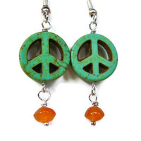 Green Peace Sign Earrings jewelry for hippies by PeaceLovePakalolo