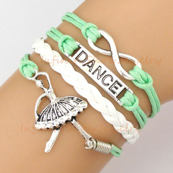 To Infinity and Beyond, Ballerina, Dance Charm Bracelet, Dancer, Infinity, Mint Green, Christmas, Graduation, Friendship, Bridesmaid Gift