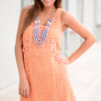 All The Way Crochet Dress,Peach