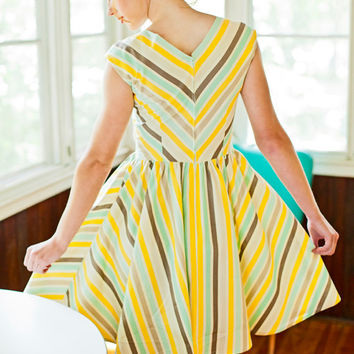 v-neck striped dress in teal, mustard, grey and cream cotton fabric bias cut- perfect summer dress  - BRITNEY style