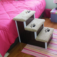 "24"" Tall Dog Steps,  All Wood and Screw Construction, Wooden Pet Steps for Beds, Custom Made, Hand Built, Choose Your Color!"