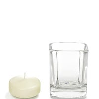 "Product: 2.75""W x 2.75""L x3.5""H - Set of 12, 2.25"" Floating Candles And Square Holders -"