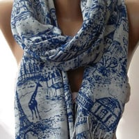 Blue Shawl / Scarf / soft cotton by womann on Etsy