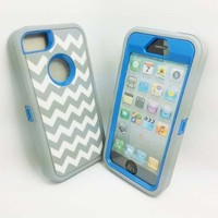 DELUXE Chevron Wave Hybrid Rubber Silicone Cover Case For iPhone 5 5S, Chevron Wave Print Hard Soft High Impact Hybrid Armor Case Combo for iPhone 5 5S, Hybrid 3 PIECE ZEBRA HARD PROTECT CASE COVER SKIN FOR iPhone 5 5S (Gary +Blue with White Wave)