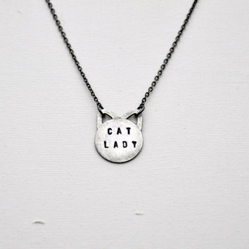Hand Stamped Sterling Silver Cat Lady Necklace - Cat Necklace - Modern Jewellery - Silver Delicate Necklace - Black Oxidized Finish