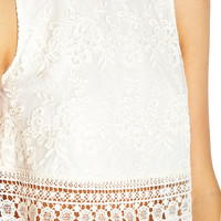 Lace-Overlay Boxy Top