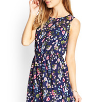 FOREVER 21 Floral Fit & Flare Dress Navy/Olive