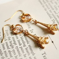 The Parisian eiffel tower charm earrings in gold by shopjmp