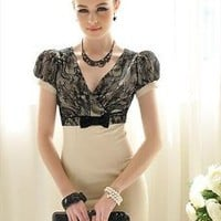 Lace V-neck Gorgeous Ladies Dress
