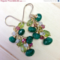 SALE 35% OFF Peridot and Emerald Earrings Wire Wrapped 14kt Gold Fill Herkimer Diamond Cut Quartz, Pink Sapphire, August Birthstone