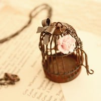 Let me go rusty like bird cage necklace by shopjmp on Etsy