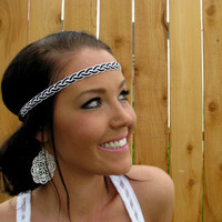 Bohemian Indie Chic White and Black Braided Cord Headband w/ Stretch Elastic