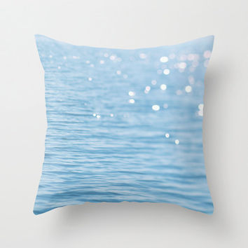 Blue ocean photo pillow, decorative light sparkles cushion, light blue throw pillow, white and pink bokeh art, sparkle cover, nautical decor