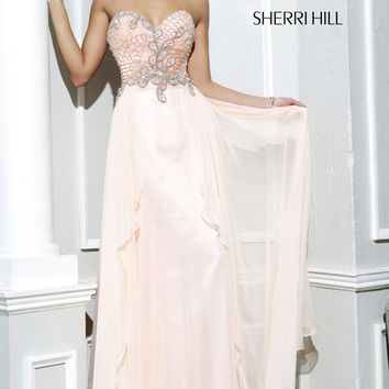 Sherri Hill 3895 - Light Peach Strapless Chiffon Prom Dresses Online